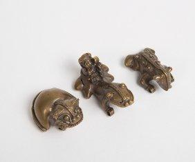 Lot Of 3 Pre-columbian Tumbaga Copper Animals