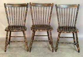 Set Of Three Pennsylvania Rodback Windsor Chairs,