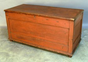 Red Painted Pine Blanket Chest, 19th C., 27 1/2''