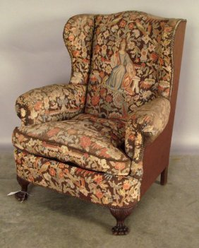 Needlework Wing Chair, Late 19th C.