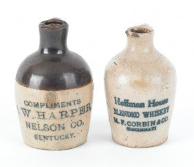 Two Miniature Stoneware Jugs, Inscribed Hoffman