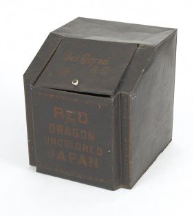 Bell Conrad & Co. Tin Tea Bin, 19 1/2'' H., 17 1