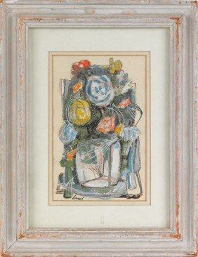 Watercolor And Gouache Still Life, Signed Erni,