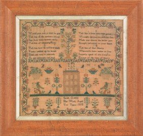 Silk On Linen Sampler, Dated 1818, Wrought By S