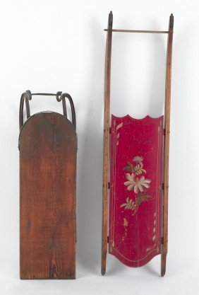 Painted Sled, 46'' L., Together With Another Sled