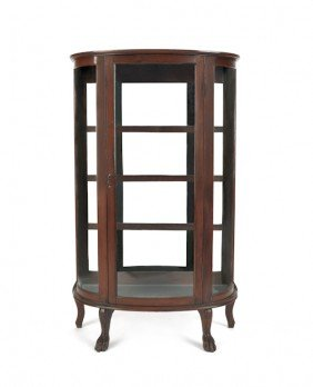 Oak Bowfront China Cabinet, Ca. 1900, By The New