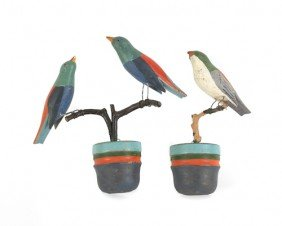 Three Carved And Painted Wall Mount Birds, Talles