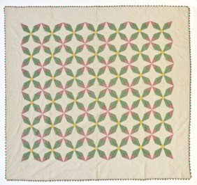 Patchwork Star Variant Quilt, Mid 20th C., 96'' X