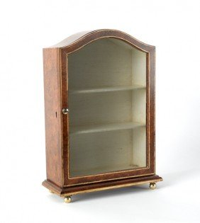 Contemporary Faux Burl Display Cabinet, 16 1/2'' H