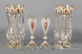 Pair Of Victorian Overlay Lusters, Late 19th C.,