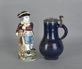 Continental Stoneware Stein, 19th C., With Facete
