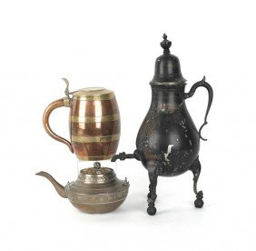 Painted Pewter Samovar, 19th C., Together With A