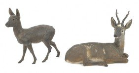 Pair Of European Terra Cotta Deer, 19th C., To