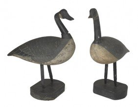 Pair Of Carved And Painted Canada Goose Decoys,