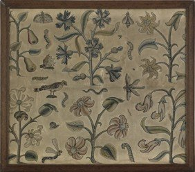 Charles II Stumpwork Embroidery, Late 17th C.,