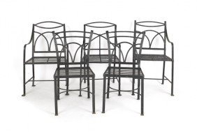 Five English Wrought Iron Garden Seats, 19th C.