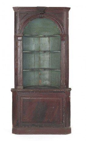George III Painted Pine Three-part Barrel Back C