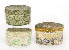 Two Oval Wallpaper Boxes, 19th C., Together Wit