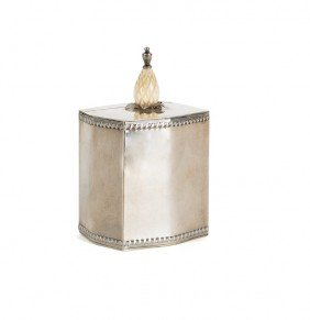 Cartier Sterling Silver Caddy, With Ivory Finia