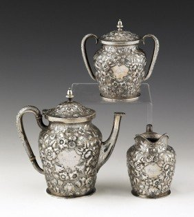 Philadelphia Three-piece Repouss� Silver Tea Ser