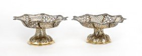Pair Of English Silver Reticulated Baskets, 1863
