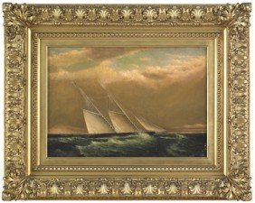 Oil On Canvas Nautical Scene With Racing Sloop,