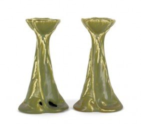 Pair Of Rookwood Pottery Candlesticks, 6 3/4'' H.
