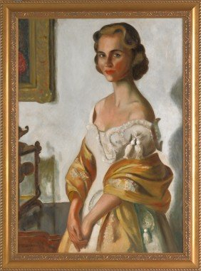 Oil On Canvas Portrait Of A Woman, Ca. 1950, Sign