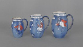 Set Of Three Royal Doulton Toasting Pitchers, 7 3