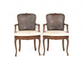 Pair Of French Cane Seat Armchairs.