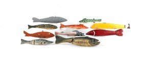 Ten Carved Fish Decoys.
