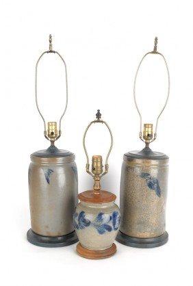 Three Blue Decorated Stoneware Crocks, Converted