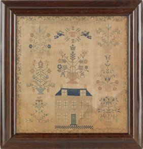 Silk On Linen Sampler, Dated 1835, With A Brick