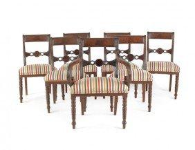 Set Of Seven Regency Mahogany Dining Chairs, Ca.