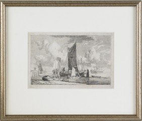 Four Continental Etchings, Three Signed Indistinc