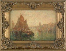 Oil On Canvas Harbor Scene, 12 1/2'' X 18 1/2''.
