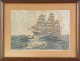 Three Nautical Lithographs, 19th C., One Signed