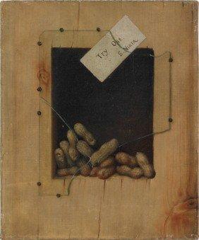 Trompe L'oeil, Oil On Canvas Of Peanuts, 19th C.,