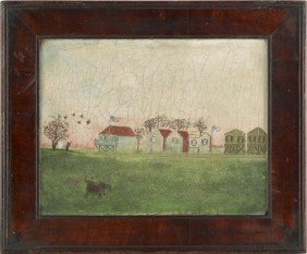 Primitive Oil On Canvas Landscape, 19th C., With