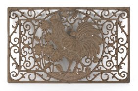 Cast Iron Door Mat With A Rooster And C-scroll D