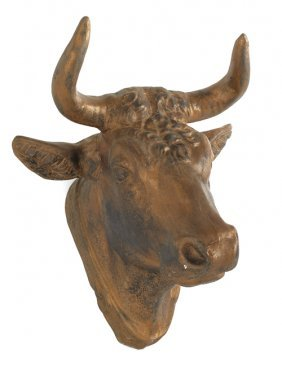 Two Painted Tin Bull's Head Plaques, Late 19th C