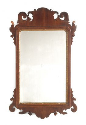 Queen Anne Mahogany Veneer Mirror, With Scallop