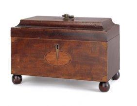 George III Mahogany Tea Caddy, Late 18th C., Wi