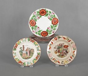 Set Of Six English Pearlware Plates, Early 19th