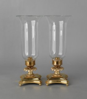 Pair Of Ormolu And Glass Table Lamps, 20th C.,