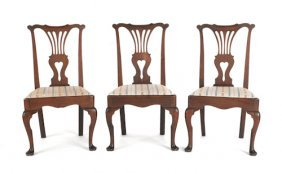 Set Of Three Queen Anne Walnut Dining Chairs, Ca