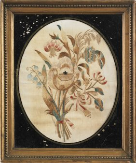 Silk Floral Embroidery, Early 19th C., 9 1/2'' X