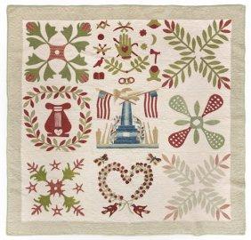 Baltimore Album Quilt, Ca. 1850, Having A Centr