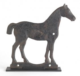 Cast Iron Horse Form Windmill Weight, Early 20th