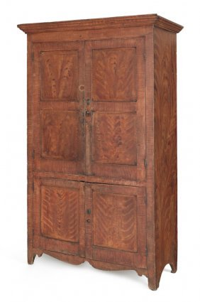 New Jersey Painted Pine Wall Cupboard, Ca. 1820